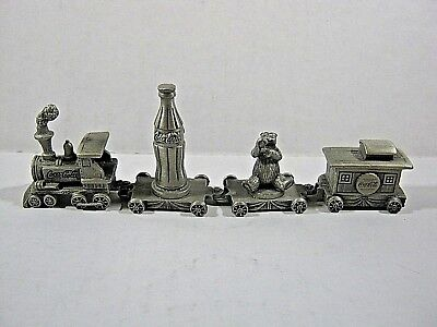 Pewter Coca Cola Bear Miniature Train 4 cars Coke
