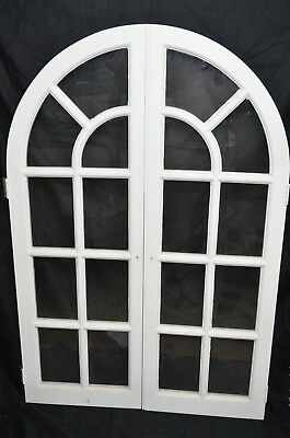 "PAIR Vintage True Divided Lite Glass Window Round Top Cabinet Doors 53""T X 35""W"