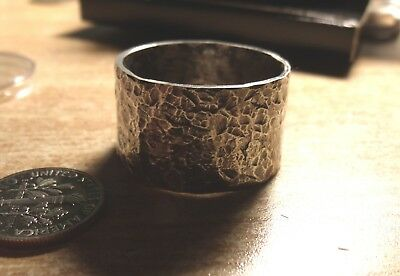 VIKING HAMMERED SILVER RING MADE FROM A MORGAN SILVER DOLLAR SIZE 15 or by req.