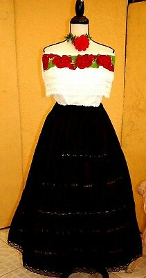 Mexican Black/White Dress On/Off shoulder Floral Embroidery Adelita 5 D Mayo 1Sz