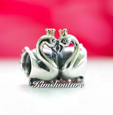 Authentic PANDORA Charm Two Tone Swan Embrace Sterling Silver with 14K 791189