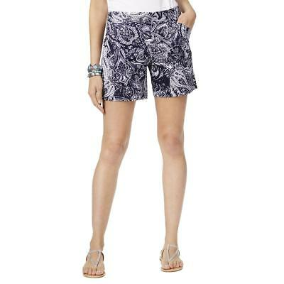 30cd1adb17 INC Womens Navy Paisley Regular Fit Flat Front Casual Shorts 14 BHFO 6951