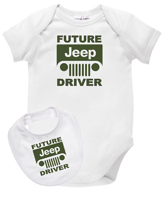 Baby romper suit one piece PLUS a baby bib FUTURE JEEP DRIVER new cotton