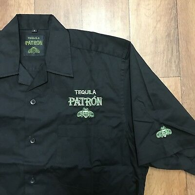 Tequila Patron Black Short Sleeve Button Up Pocket Shirt Mens Size Small NWOT