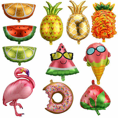 Fashion Summer Theme Flamingo/Pineapple Fruits Foil Balloon Baby Party Decor New