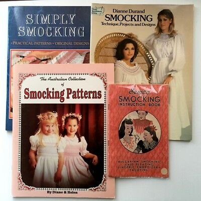 Semco Smocking Embroidery Book + 3 Other Smocking Pattern Books - Exc Condition