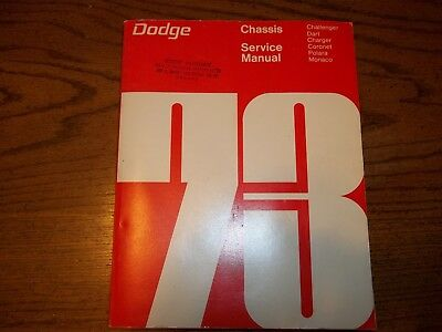 VINTAGE 1973 Dodge Chassis Service Manual Challenger Dart Charger Coronet Monaco