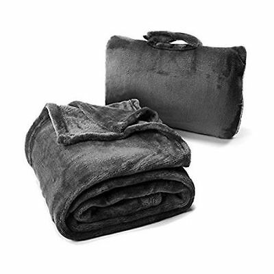 Cabeau Fold N Go Blanket Charcoal Pillow Seat Cushion Lumbar Support Travel