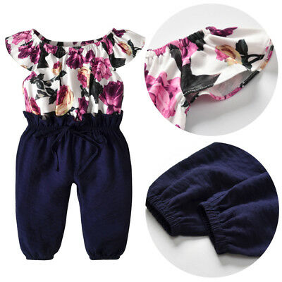 US Fashion Casual Toddler Baby Girl Flower Romper Floral Summer Outfit One Piece