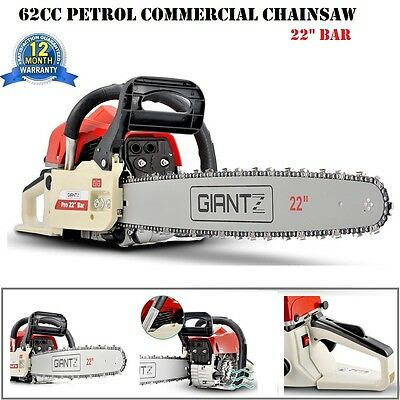 "NEW Giantz 62CC Petrol Chainsaw Commercial 22"" Bar Pruning Chain Saw + Carry Bag"
