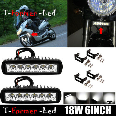 LED Work Light Bar Fog Headlight 1983-2018 Harley Dyna Softail Sportster Street