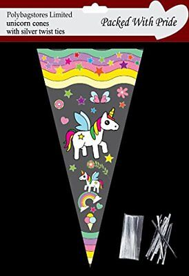 25 - UNICORN Cone Cello Cellophane Sweet Party Bags With Silver Ties