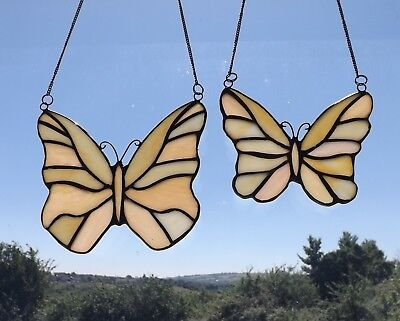 Art Deco Vintage Style Stained Glass Panel Plaque Cream Butterfly Suncatcher