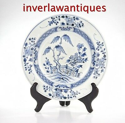 18Th C Blue White Plate/dish Qianlong Period Qing Dynasty