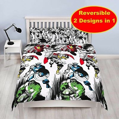 Marvel Comics Crop Double Duvet Quilt Cover Set Boys Kids Bedroom Gift Children