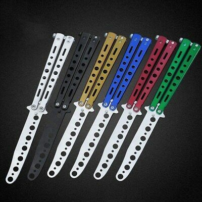 Stainless Steel Butterfly Balisong Comb Trainer Training Knife Dull Tool 6 Color