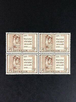 Australia 1961 5d Brown Christmas Commemorative, Block Of 4 MUH SG341