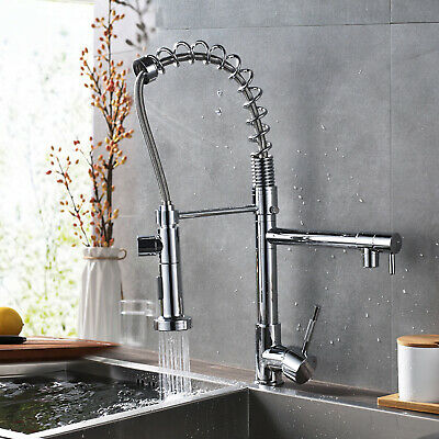 Touch Sensor Kitchen Sink Faucet Pull Out Sprayer Swivel Spout Single Hole Mixer