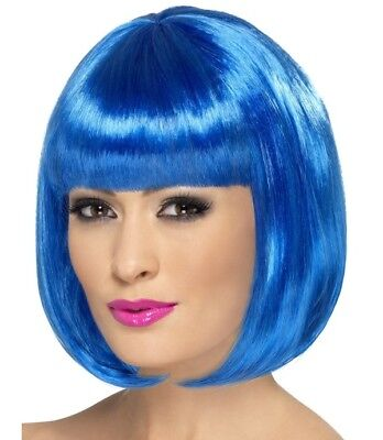 Ladies Bob Fancy Dress Wig Partyrama Costume Wig Blue by Smiffys Cosplay