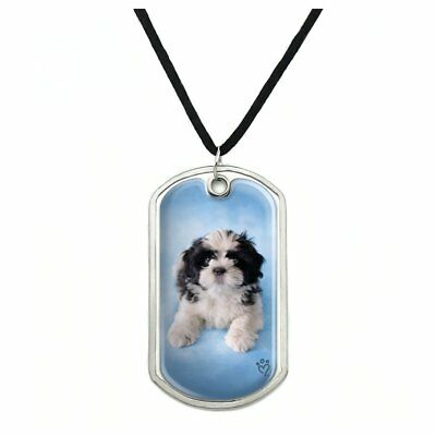 Shih Tzu Dog Black White on Blue Military Dog Tag Pendant Necklace with Cord