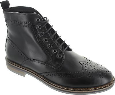 5da3ecbc665 Base London Hurst Mens Waxy Black Lace Up Leather Ankle Wingtip Brogue  Boots New