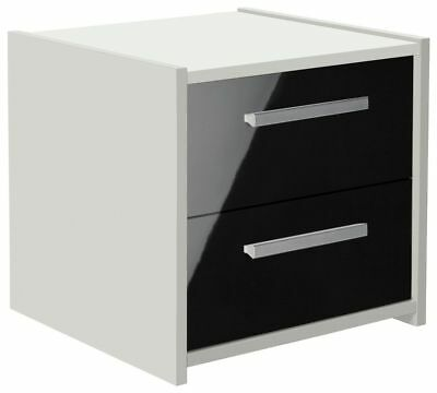 New Sywell Home 2 Drawer Bedside Chest - White & Black Gloss