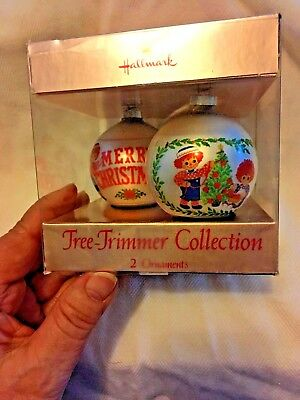 1975 Hallmark Mint Set of 2 Raggedy Ann and Andy Ornaments with Box