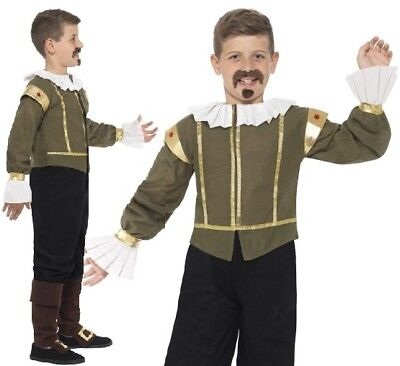 Childs Boys William Shakespeare Elizabethan Tudor Fancy Dress Costume by Smiffys