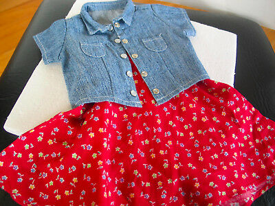"""Authentic American Girl/PC 18"""" Doll 1997 Play Outfit Denim shirt & long skirt"""