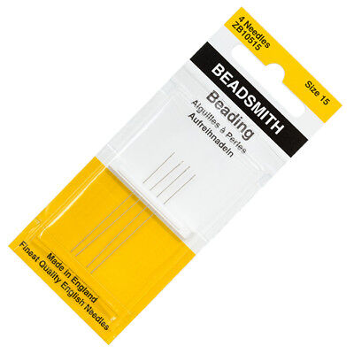Beadsmith Size 15 (0.25mm) English Beading Needles 45mm Pack of 4 (R78/1)