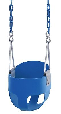 Swingan  High Back, Full Bucket Toddler & Baby Swing -Vinyl Coated Chain - Blue