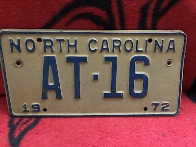 VERY LOW NUMBER / ALPHABET 1972 North Carolina License Plate AT 16 FREE SHIPPING