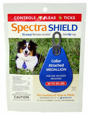Spectra Shield collar medallion | 4 Month flea/tick control Dogs over 30-55 lbs.