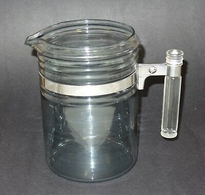 Vintage Pyrex Flameware Stove Top Coffee Pot Only#7826-B Blue Tint 6 Cup