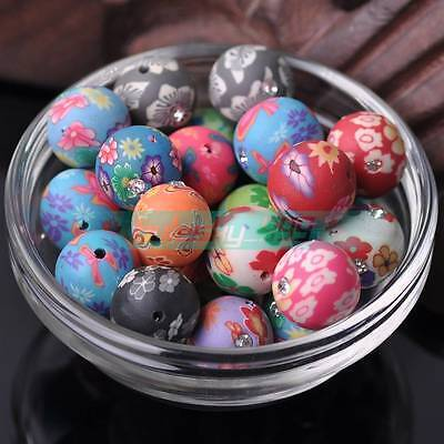 20pcs 15mm Ball Shape Polymer Clay Rhinestone Loose Spacer Beads Mixed