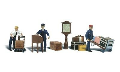 NEW Woodland N Scale Depot Workers & Accessories Train Figures A2211