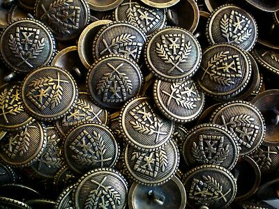 20mm 32L Aged Brass Effect Metal Regal Coat of Arms Crest Shank Buttons (XM73)