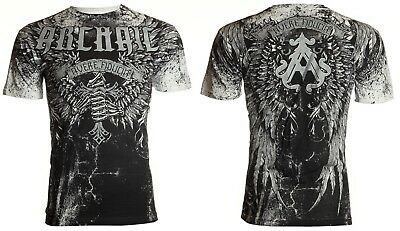 Archaic Affliction Mens S/S T-Shirt HOLY MAN Wings WHITE Tattoo Biker S-4XL $40