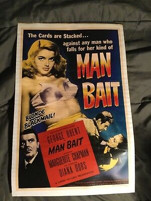 """Man Bait- Lobby Card or poster - 11""""x 17"""" - with wear see pictures"""
