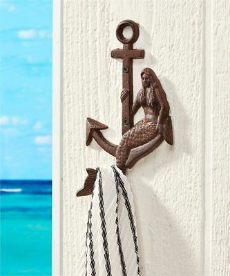 Rustic Cast Iron Mermaid Anchor Hook Wall Hanger Decor Nautical Towel Holder