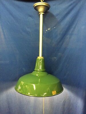 Antique Green Enamel Porcelain Benjamin Vintage Light Fixture