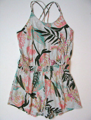 Old Navy Gray Tropical Floral Knit Romper girls size L 10 12 Cross Back