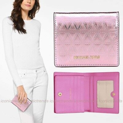 Nwt💖michael Kors Money Pieces Flap Card Holder Quilted Leather Wallet Soft Pink