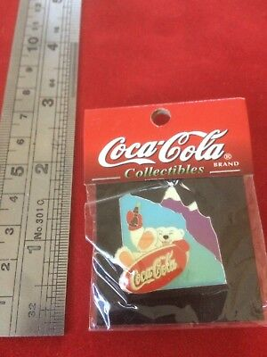 Coca-Cola Polar Bear Snowboarding Coke Christmas Enamel Vintage New in Package