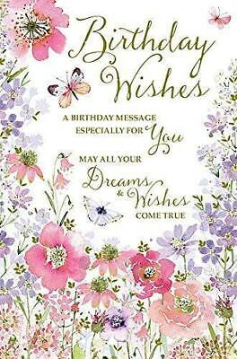 Happy Birthday - Flowers and Butterflies Traditional Female New Greetings Card