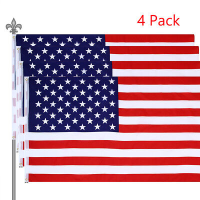4Pack 3x5 FT American Flag with Grommets USA United States of America US Flag