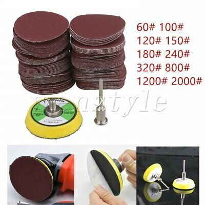 100PCS 50mm Orbital Hook Loop Sanding Discs Pad Mat Sandpaper 60-2000 Grit