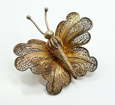 Antique Continental European 800 Silver Gilded Hand Wrought Butterfly Brooch