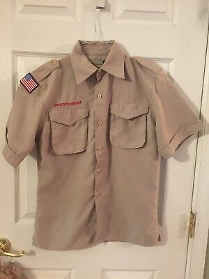 Boy Scouts Of America Bsa Youth Large Tan Vented Uniform Shirt No Patches