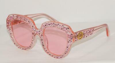 dd75947fe1 NEW AUTH GUCCI CAT EYE PINK HEART CRYSTAL SUNGLASSES GG0308S C04 w CASE -  ITALY